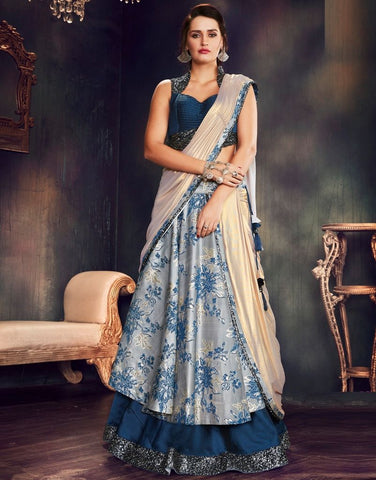 Blue & Grey Color Fancy Brocade Designer Lehenga Sarees : Sadhik Collection  NYF-1762
