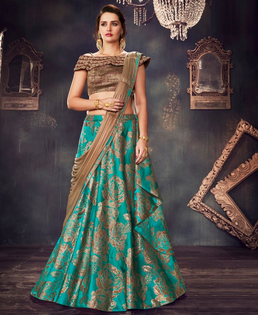 Rama Green Color Fancy Brocade Designer Lehenga Sarees : Sadhik Collection  NYF-1764 - YellowFashion.in