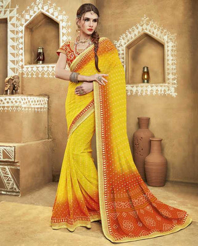 Yellow & Orange Color Georgette Bandhej Festive Wear Sarees : Romina Collection  YF-50945