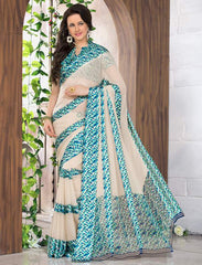 Cream & Blue Color Georgette Casual Wear Sarees : Madhulika Collection  YF-50356