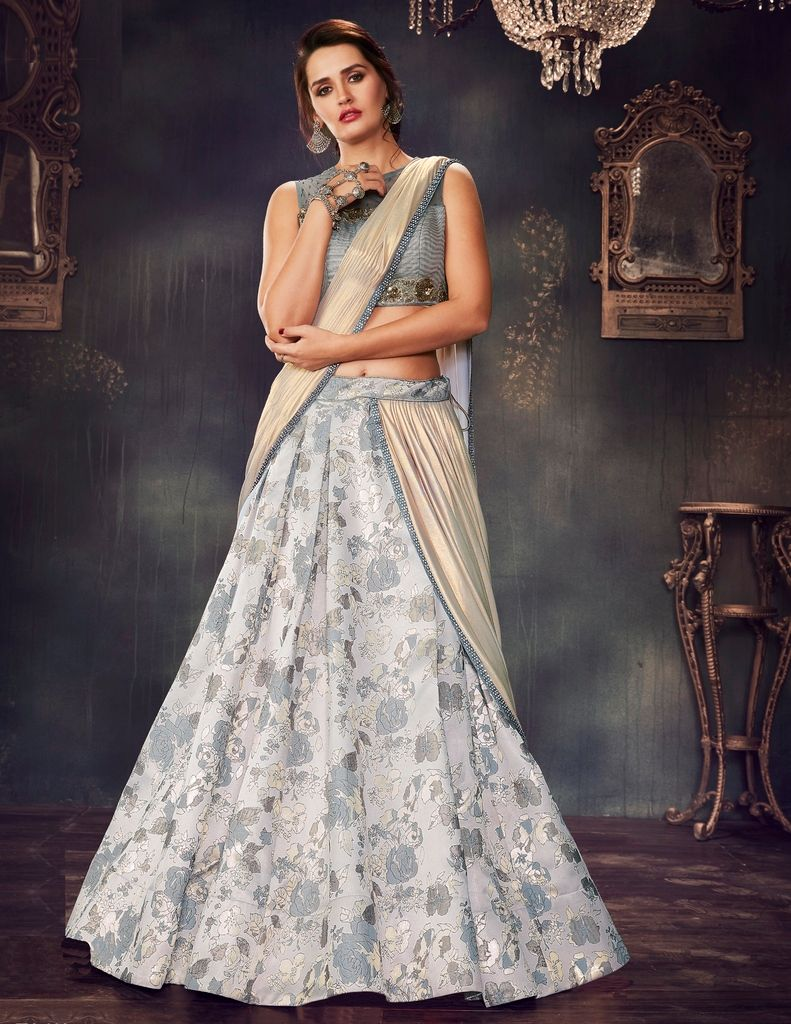 Grey Color Fancy Brocade Designer Lehenga Sarees : Sadhik Collection  NYF-1765 - YellowFashion.in