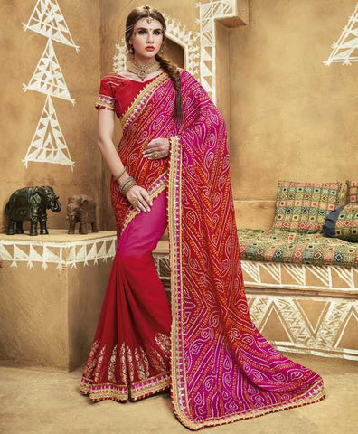 Pink & Red Color Georgette Bandhej Festive Wear Sarees : Romina Collection  YF-50946