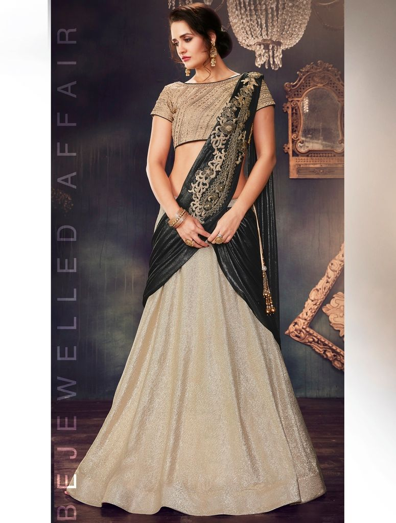Cream & Black Color Fancy Lycra Designer Lehenga Sarees : Sadhik Collection  NYF-1766 - YellowFashion.in