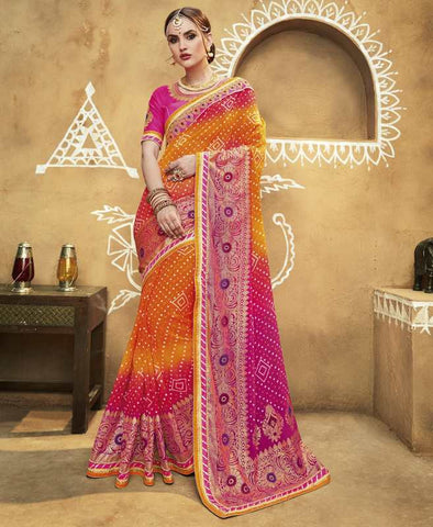 Orange, Yellow & Pink Color Georgette Bandhej Festive Wear Sarees : Romina Collection  YF-50947