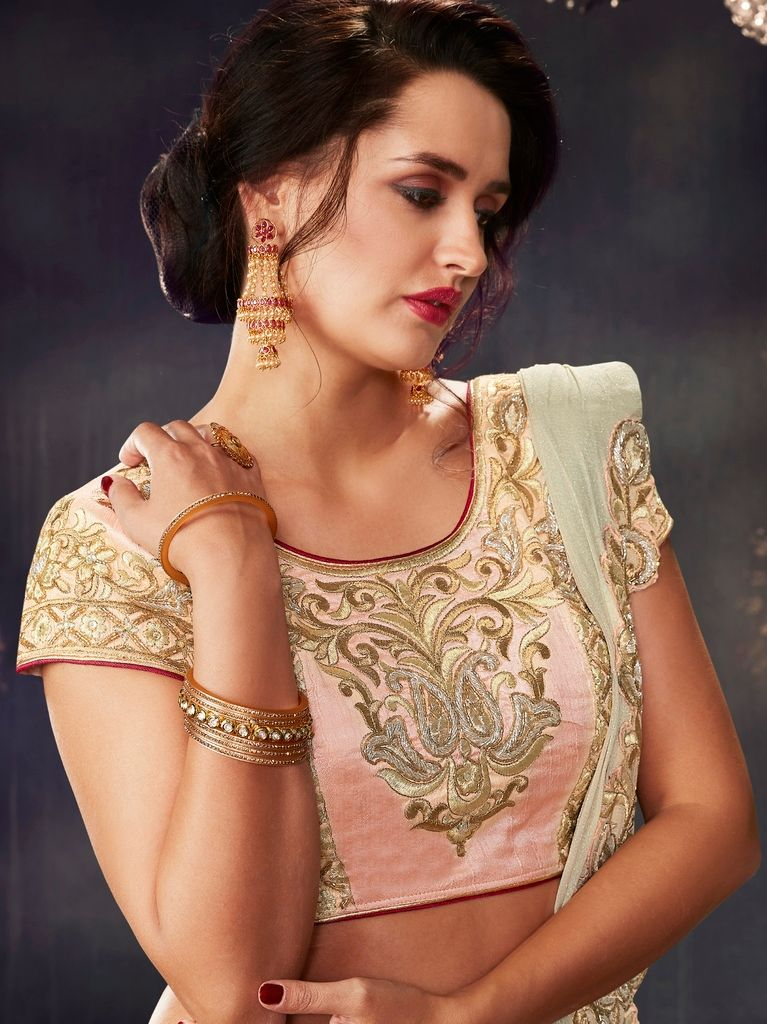 Pink & Off White Color Net Designer Lehenga Sarees : Sadhik Collection  NYF-1767 - YellowFashion.in