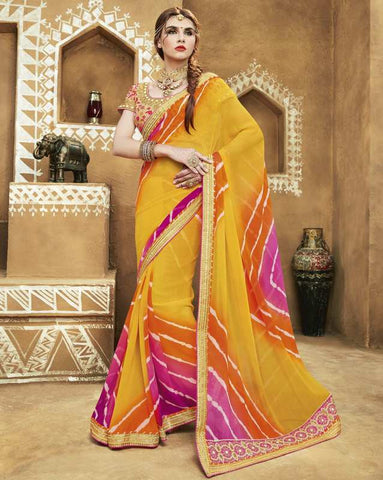 Yellow Color Georgette Bandhej Festive Wear Sarees : Romina Collection  YF-50948