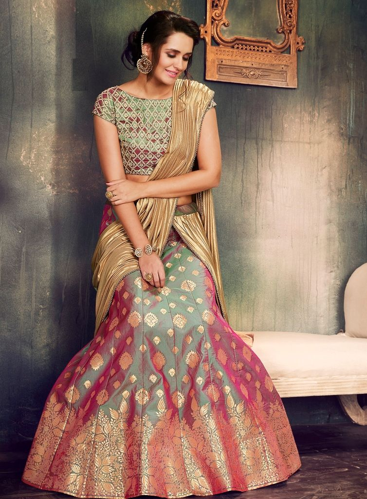 Green & Purple Color Two Tone Silk Designer Lehenga Sarees : Sadhik Collection  NYF-1770 - YellowFashion.in