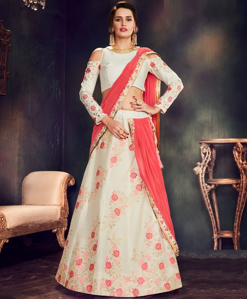 Off White & Pink Color Weaving Silk Designer Lehenga Sarees : Sadhik Collection  NYF-1771 - YellowFashion.in