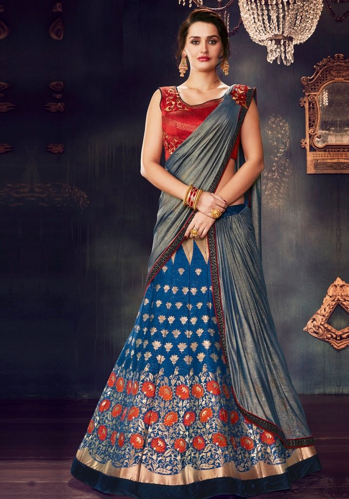 Blue Color Weaving Silk Designer Lehenga Sarees : Sadhik Collection  NYF-1772 - YellowFashion.in