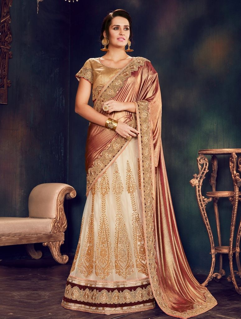 Off White Color Net Designer Lehenga Sarees : Sadhik Collection  NYF-1774 - YellowFashion.in