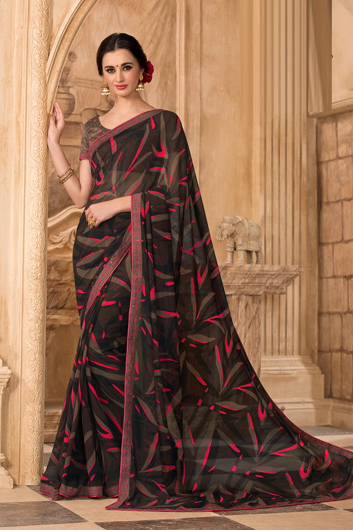 Black and Pink Color Georgette Casual Wear Saree -Ladli Bahu  Collection  YF#11296
