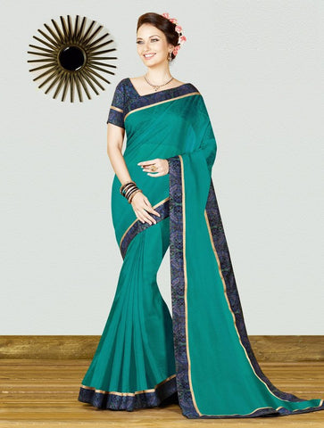 Rama Green Color Georgette Weaving Net Casual Party Sarees : Gitali Collection  YF-46302
