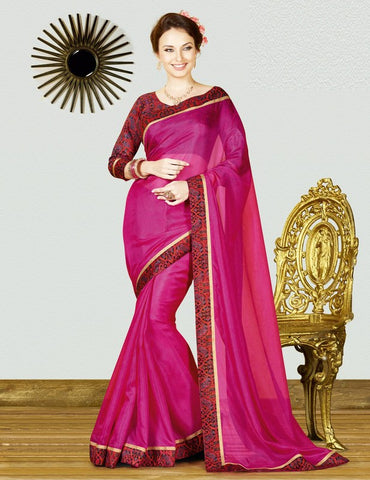 Magenta Color Georgette Weaving Net Casual Party Sarees : Gitali Collection  YF-46307
