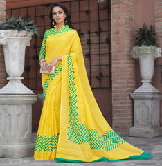 Yellow Color Bhagalpuri Office Wear Sarees : Tanrika Collection  YF-50676