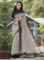 Mud Color Bhagalpuri Office Wear Sarees : Tanrika Collection  YF-50677