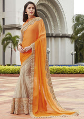 Orange & Off White Color Half Net & Half Wrinkle Chiffon Festive Wear Sarees : Ruvini Collection  YF-48644