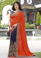 Blue & Orange Color Half Georgette & Half Raw Silk Festive Wear Sarees : Ruvini Collection  YF-48645