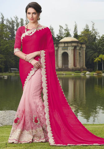 Baby Pink & Rani Pink Color Half Net & Half Wrinkle Chiffon Festive Wear Sarees : Ruvini Collection  YF-48646