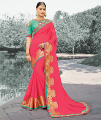 Pink Color Georgette Festive Sarees With Designer Blouses : Saubhagya Collection  YF-52749