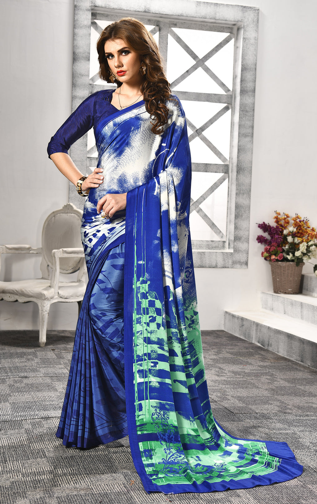 Blue Color Crepe  Digital Print Kitty Party Sarees NYF-8155