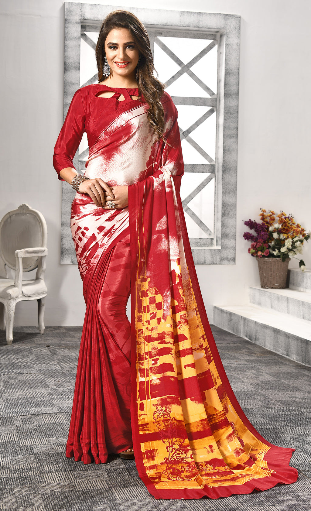 Red Color Crepe  Digital Print Kitty Party Sarees NYF-8156