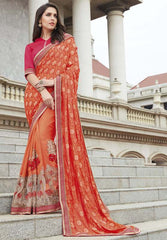 Orange Color Half Bhagalpri & Half Brasso Festive Wear Sarees : Ruvini Collection  YF-48648