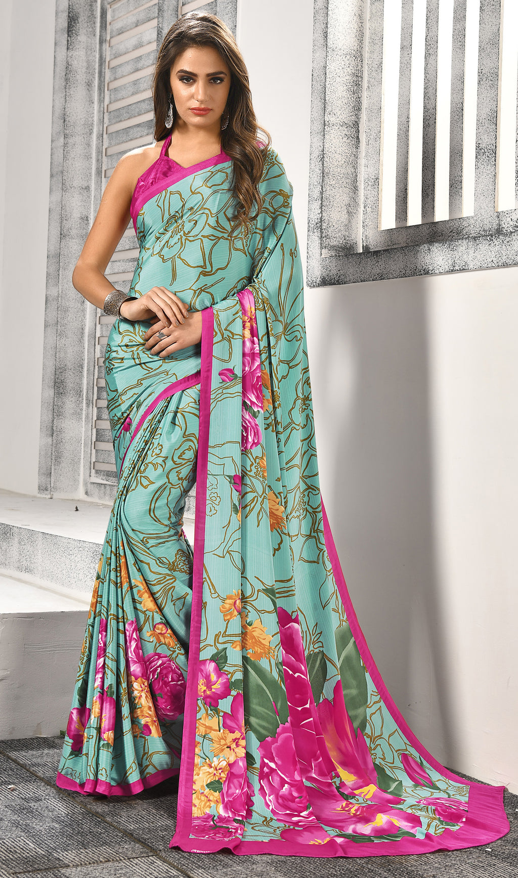 Aqua Green Color Crepe  Digital Print Kitty Party Sarees NYF-8157