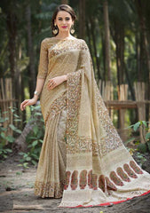 Light Brown Color Bhagalpuri Office Wear Sarees : Tanrika Collection  YF-50683