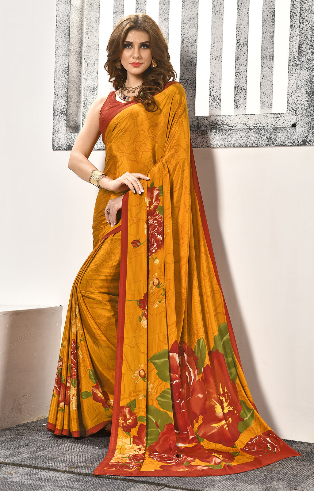 Mustard Yellow Color Crepe  Digital Print Kitty Party Sarees NYF-8158