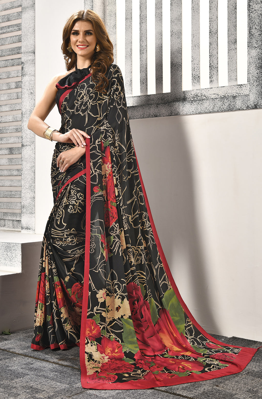 Black Color Crepe  Digital Print Kitty Party Sarees NYF-8159