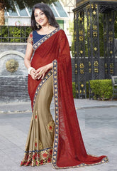 Golden & Red Color Wrinkle Chiffon Festive Wear Sarees : Ruvini Collection  YF-48650