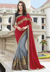 Grey & Red Color Half Net & Half Raw Silk Festive Wear Sarees : Ruvini Collection  YF-48651