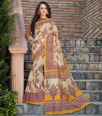 Cream & Pink Color Bhagalpuri Office Wear Sarees : Tanrika Collection  YF-50685