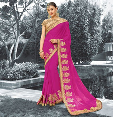 Rani Pink Color Georgette Festive Sarees With Designer Blouses : Saubhagya Collection  YF-52756