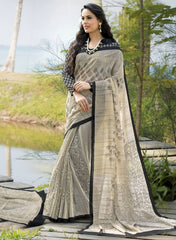 Cream & Black Color Bhagalpuri Office Wear Sarees : Tanrika Collection  YF-50688