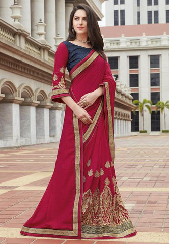 Pink Color Raw Silk Festive Wear Sarees : Ruvini Collection  YF-48656