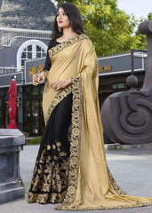 Golden & Black Color Crepe Festive Wear Sarees : Ruvini Collection  YF-48657