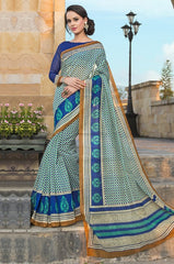 Green & Blue Color Bhagalpuri Office Wear Sarees : Tanrika Collection  YF-50691