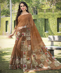Brown Color Bhagalpuri Office Wear Sarees : Tanrika Collection  YF-50692