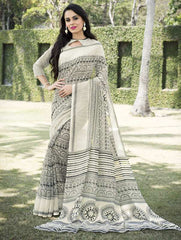 Off White & Black Color Bhagalpuri Office Wear Sarees : Tanrika Collection  YF-50693