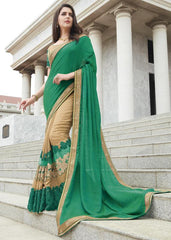 Golden & Green Color Raw Silk Festive Wear Sarees : Ruvini Collection  YF-48660