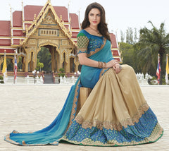 Shades Of Blue & Golden Color Half Georgette & Half Raw Silk Festive Wear Sarees : Ruvini Collection  YF-48664