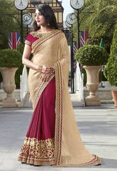 Magenta & Light Golden Color Wrinkle Chiffon Festive Wear Sarees : Ruvini Collection  YF-48665
