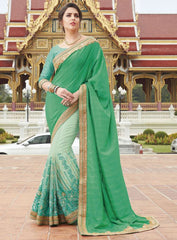 Pastel Green & Green Color Half Net & Half Raw Silk Festive Wear Sarees : Ruvini Collection  YF-48666