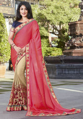 Light Golden & Pink Color Half Raw Silk & Half Crepe Festive Wear Sarees : Ruvini Collection  YF-48667