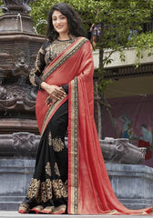 Black & Gajjaria Color Half Shimmer Georgette Foil & Half Raw Silk Festive Wear Sarees : Ruvini Collection  YF-48668