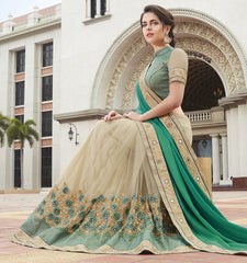 Light Coffee & Green Color Half Net & Half Georgette Festive Wear Sarees : Ruvini Collection  YF-48669