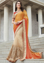 Cream, Yellow & Orange Color Half Net & Half Wrinkle Chiffon Festive Wear Sarees : Ruvini Collection  YF-48670
