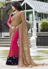 Pink & Tobacoo Color Georgette Festive Wear Sarees : Ruvini Collection  YF-48672