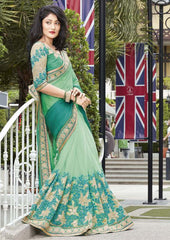 Shades Of Green Color Half Net & Half Wrinkle Chiffon Festive Wear Sarees : Ruvini Collection  YF-48673